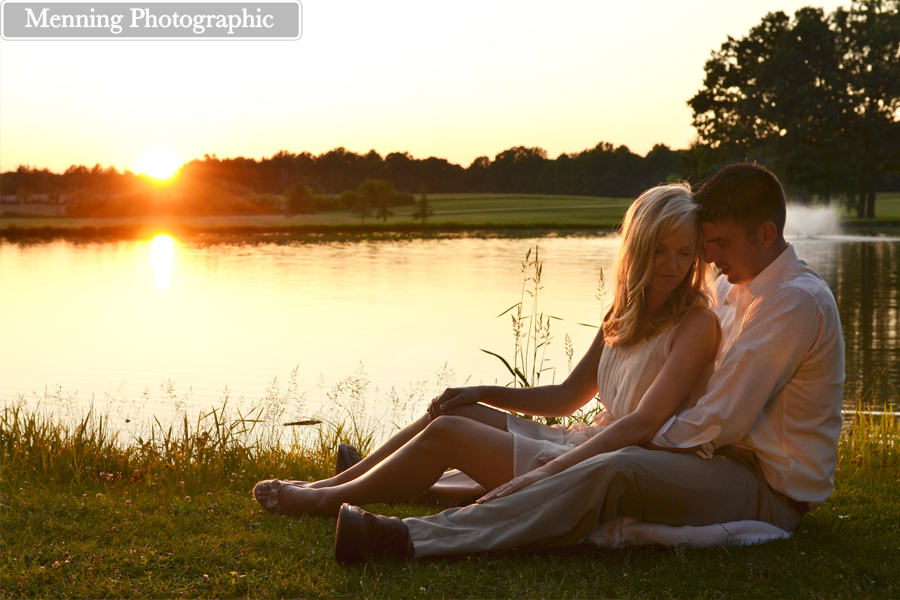 engagement session by a lake Canfield Ohio