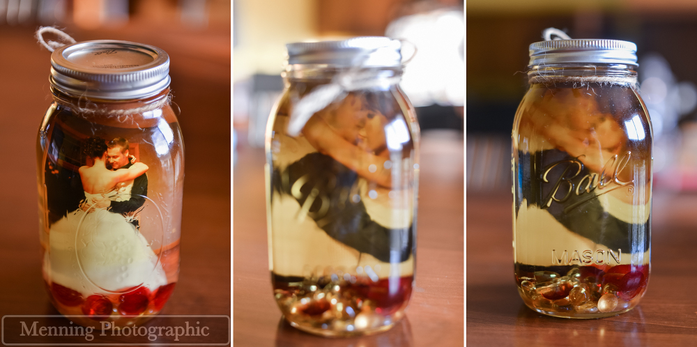Diy mason jar photo decor youngstown ohio destination wedding bridal shower centerpieces we even reused the vegetable oil gems and baler twine from her centerpieces for these first make sure your mason jar is junglespirit Image collections