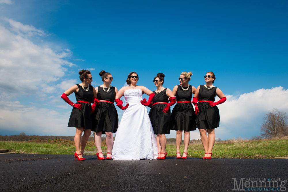 black white and red bridal party