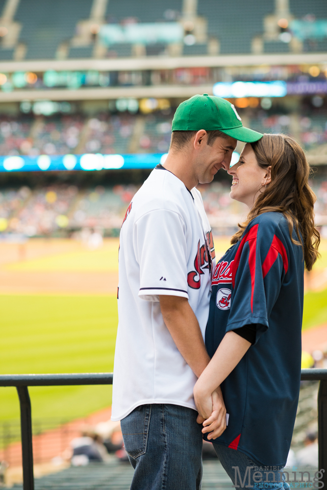 baseball themed engagement session in a ballpark