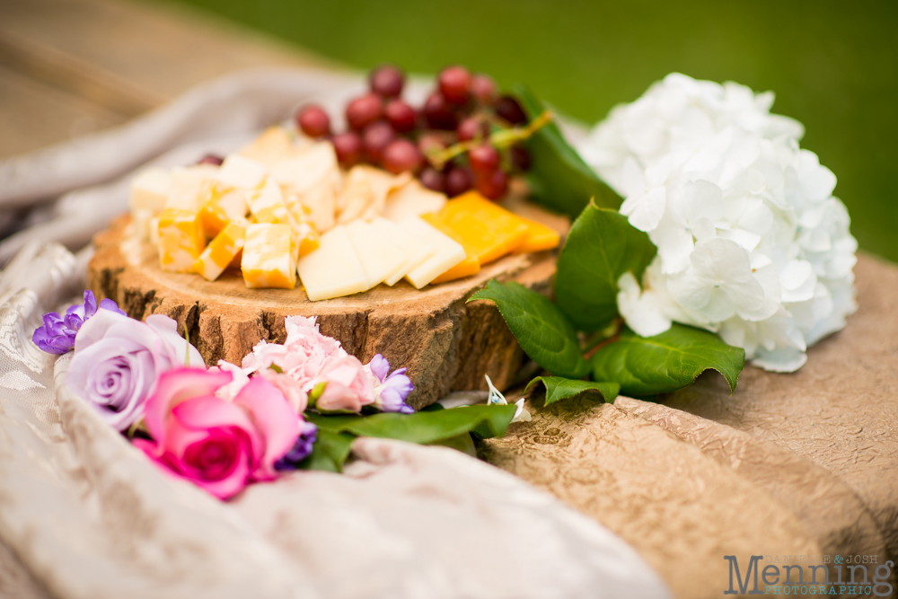wedding spread on wooden carving board